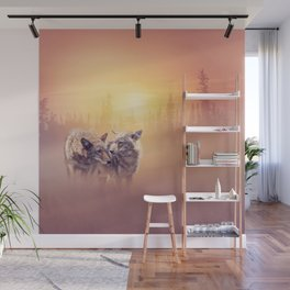 Two coyotes in the wilderness at sunset Wall Mural