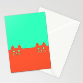 Meow Orange Turquoise Stationery Cards