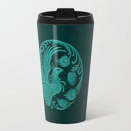 Traditional Teal Blue Chinese Phoenix Circle Travel Mug