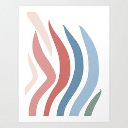 Pastel Stripes Pattern Abstract Art Art Print