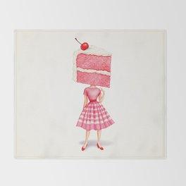 Cake Head Pin-Up - Cherry Throw Blanket