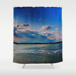 Leaving Harwich, peaceful seascape with dramatic god-rays Shower Curtain