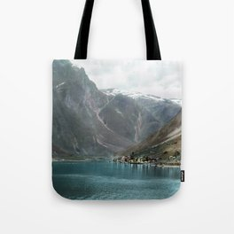 Village by the Lake & Mountains Tote Bag