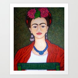 Frida portrait with dalias Art Print