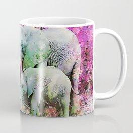 Elephant art mother child pink floral Coffee Mug