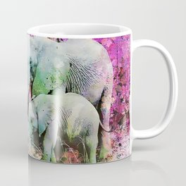 Elephant art mother child pink floral Coffee Mug