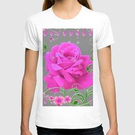 ROMANTIC CERISE PINK ROSE GREY ART RIBBONS T-shirt