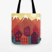 mountains Tote Bags featuring Mountains by Kakel