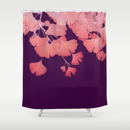 Coral Ginkgo Biloba Leaves Shower Curtain