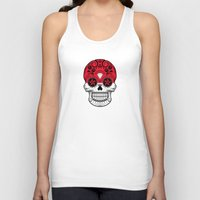 indonesia Tank Tops featuring Sugar Skull with Roses and Flag of Indonesia by Jeff Bartels