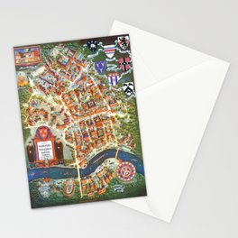 HARVARD University map MASSACHUSETTS Stationery Cards