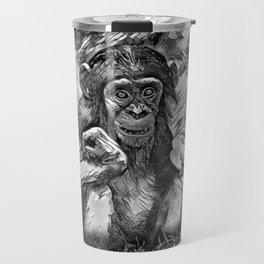 AnimalArtBW_Chimpanzee_20170603_by_JAMColorsSpecial Travel Mug