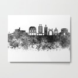 Brescia skyline in black watercolor Metal Print