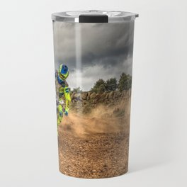 Blue and green Motocross action biker Travel Mug