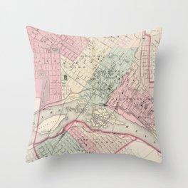 Vintage Map of Richmond VA (1878) Throw Pillow