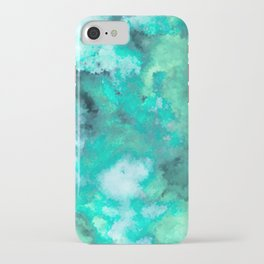 Abstract Art Pour - Green and Aqua Palette iPhone Case