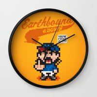 earthbound Wall Clocks featuring Earthbound & Down by Jango Snow