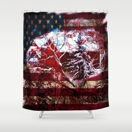 Patriotic American Barn Shower Curtain
