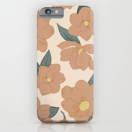 Warm peachy magnolias pattern iPhone Case