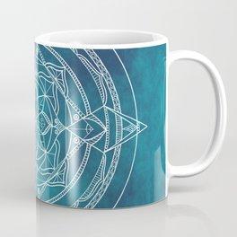 White Mandala - Dusky Blue/Turquoise Coffee Mug