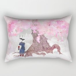 Tengami - Winter Cherry Tree (Portrait) Rectangular Pillow