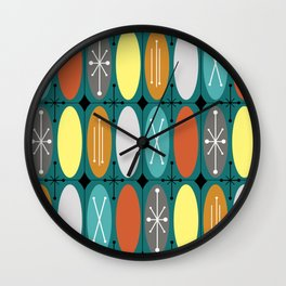 Atomic Era Ovals In Rows Teal Colorful Wall Clock