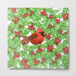 Cardinal and holly berry watercolor pattern Metal Print
