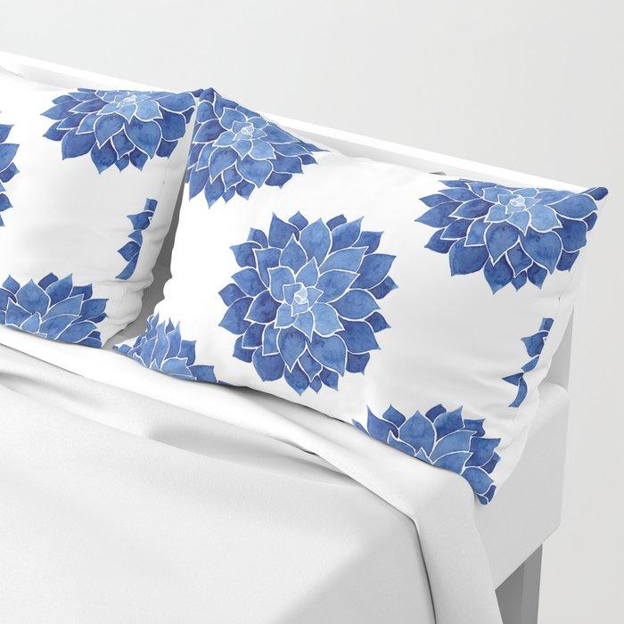Indigo Succulent |  Watercolor Painting Pillow Sham