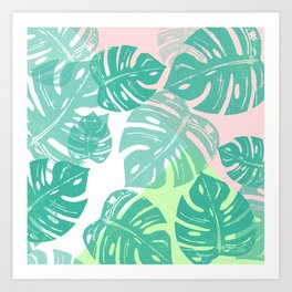 Linocut Monstera Tricolori Art Print