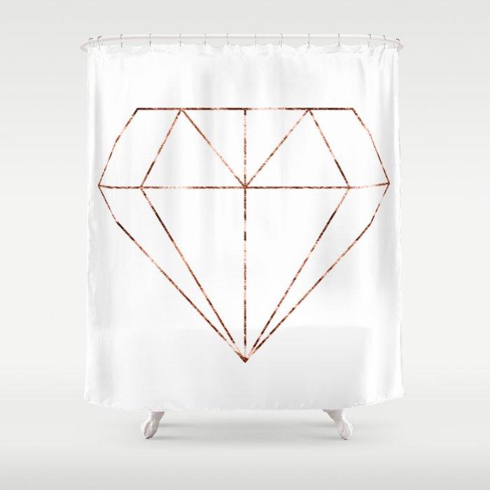 Rose Gold Foil Diamond Shower Curtain By Peggieprints