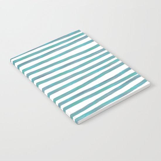 Ocean Green Hand-painted Stripes Notebook