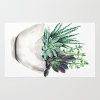 succulents Area & Throw Rugs featuring Succulents by Bridget Davidson