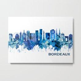 Bordeaux France Skyline Blue Metal Print