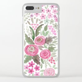 Watercolor .  Pink summer . Clear iPhone Case