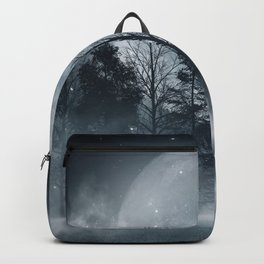 Dark forest. Gloomy dark scene with trees, big moon, moonlight. Smoke, shadow. Abstract dark, cold street background. Night view.  Backpack