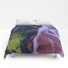 Deep Purple and Green Abstract Comforters