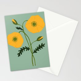Yellow Poppies Stationery Cards