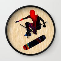 skateboard Wall Clocks featuring Skateboard by marvinblaine