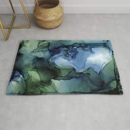 Blue Green Waves Abstract Ink Painting Rug