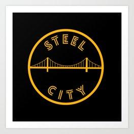 Pittsburgh Steel City Bridge Vintage Print Art Print