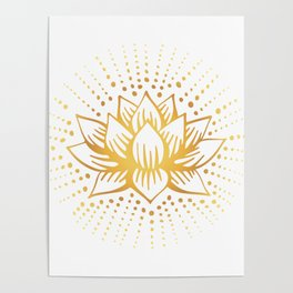 Golden Lotus Mandala Light Poster