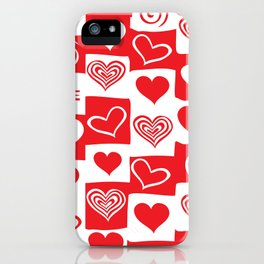 Love Pattern Text & Hearts iPhone Case