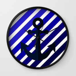 Anchor on blue lines Wall Clock