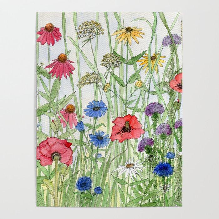 Watercolor of Garden Flower Medley Poster