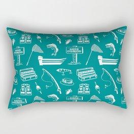 Gone Fishing // Teal Rectangular Pillow