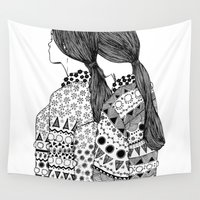 twins Wall Tapestries featuring Twins by La Thai