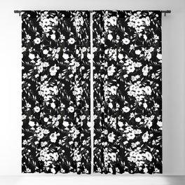 black white flower Blackout Curtain