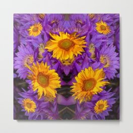 YELLOW SUNFLOWERS AMETHYST FLORALS Metal Print