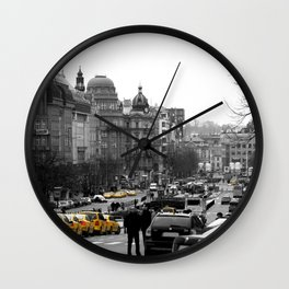 Taxis in Wenceslas Square  Wall Clock