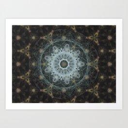 Golden Mandala Web Art Print